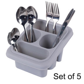 Beldray COMBO-5371 Plastic Cutlery Drainer with Four Compartments/Kids Desk Tidy, Pencil Pot, Storage Organiser, Grey, Set of 5