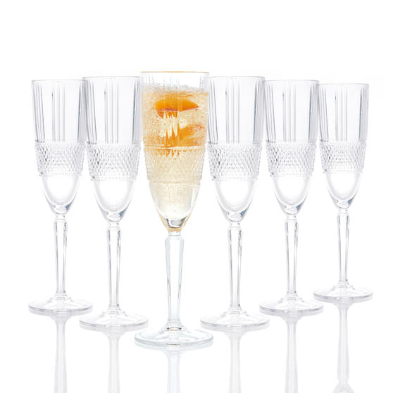 RCR 26968020006 Brillante Champagne Flutes, 185 ml, Set of 6