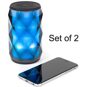 Pulsar COMBO-5453 Crystal Can Bluetooth Speaker for iPhone, Android and Other Smart USB Devices, Black, Set of 2