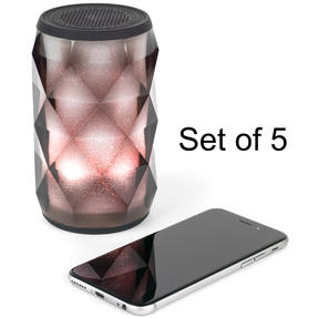 Pulsar COMBO-5455 Crystal Can Bluetooth Speaker for iPhone, Android and Other Smart USB Devices, Black, Set of 5