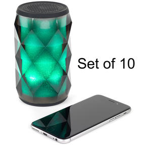 Pulsar COMBO-5456 Crystal Can Bluetooth Speaker for iPhone, Android and Other Smart USB Devices, Black, Set of 10