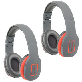 Intempo COMBO-5474 Active Wireless Bluetooth Foldable Headphones, Grey/Coral, 2 Pairs