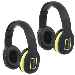 Intempo COMBO-5475 Active Wireless Bluetooth Foldable Headphones, Yellow/Black, 2 Pairs