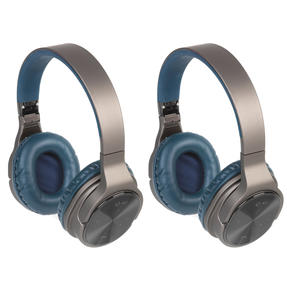 Intempo COMBO-5478 Opulence WDS25 Wireless Bluetooth Headphones, Gold/Navy, 2 Pairs