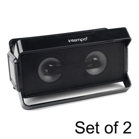 Bluetooth Boombox Speaker for iPhone, Android and Other Smart USB Devices, Set of 2