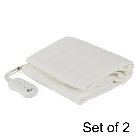 Kleeneze COMBO-5495 Machine Washable Electric Heated Under Blanket, 35 W, Single, Set of 2