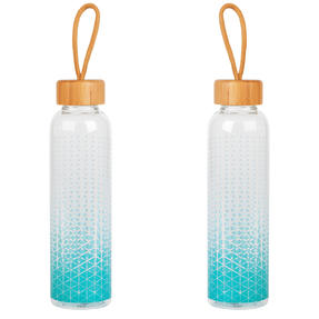 Cambridge COMBO-5406 Scope Glass Water Bottle with Bamboo Lid & Carry Handle, 550 ml, Set of 2
