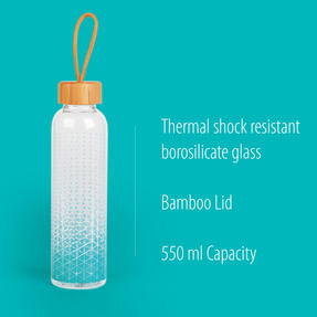 Cambridge COMBO-5406 Scope Glass Water Bottle with Bamboo Lid & Carry Handle, 550 ml, Set of 2 Thumbnail 2