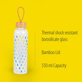 Cambridge COMBO-5407 Raindrops Glass Water Bottle with Bamboo Lid & Carry Handle, 550 ml, Set of 2 Thumbnail 2