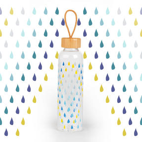 Cambridge COMBO-5407 Raindrops Glass Water Bottle with Bamboo Lid & Carry Handle, 550 ml, Set of 2 Thumbnail 3