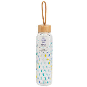Cambridge COMBO-5407 Raindrops Glass Water Bottle with Bamboo Lid & Carry Handle, 550 ml, Set of 2 Thumbnail 7