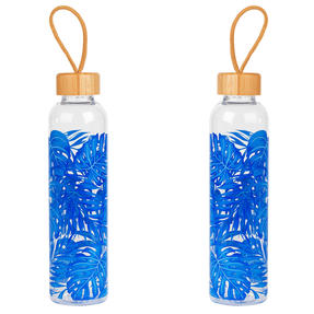 Cambridge COMBO-5408 Rainforest Glass Water Bottle with Bamboo Lid & Carry Handle, 750 ml, Set of 2 Thumbnail 1