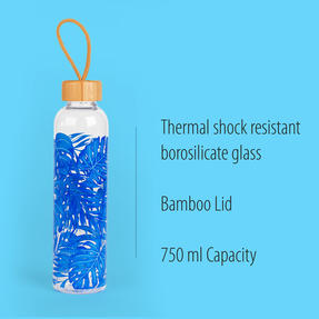 Cambridge COMBO-5408 Rainforest Glass Water Bottle with Bamboo Lid & Carry Handle, 750 ml, Set of 2 Thumbnail 2
