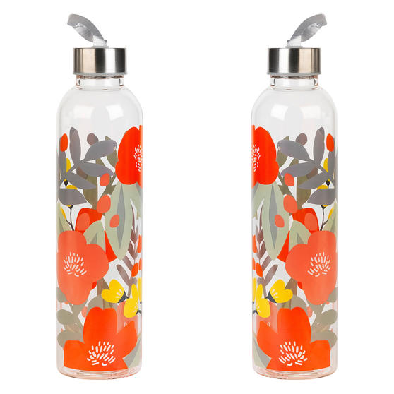 Cambridge COMBO-5410 Stylish Florencia Glass Bottle with Stainless Steel lid, 750 ml, Leak- proof, Reusable, Set of 2