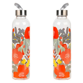 Cambridge COMBO-5410 Stylish Florencia Glass Bottle with Stainless Steel lid, 750 ml, Leak- proof, Reusable, Set of 2 Thumbnail 1