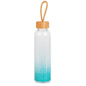 Cambridge CM06990 Scope Glass Water Bottle with Bamboo Lid & Carry Handle, 550 ml