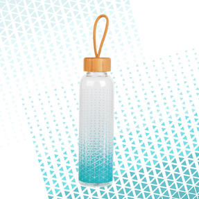 Cambridge CM06990 Scope Glass Water Bottle with Bamboo Lid & Carry Handle, 550 ml Thumbnail 5