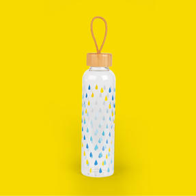 Cambridge CM06991 Raindrops Glass Water Bottle with Bamboo Lid & Carry Handle, 550 ml Thumbnail 6