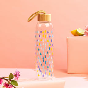 Cambridge CM06991 Raindrops Glass Water Bottle with Bamboo Lid & Carry Handle, 550 ml Thumbnail 3