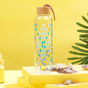 Cambridge CM06991 Raindrops Glass Water Bottle with Bamboo Lid & Carry Handle, 550 ml Thumbnail 4