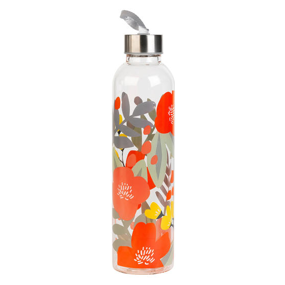 Cambridge CM06995 Stylish Florencia Glass Bottle with Stainless Steel lid, 750 ml, Leak- proof, Reusable