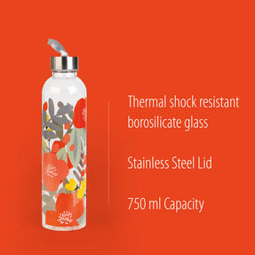 Cambridge CM06995 Stylish Florencia Glass Bottle with Stainless Steel lid, 750 ml, Leak- proof, Reusable Thumbnail 2