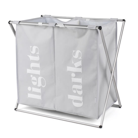 Beldray LA041074GRY2EU 2 Compartment Folding Laundry Hamper, Grey Thumbnail 1
