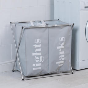 Beldray LA041074GRY2EU 2 Compartment Folding Laundry Hamper, Grey Thumbnail 4