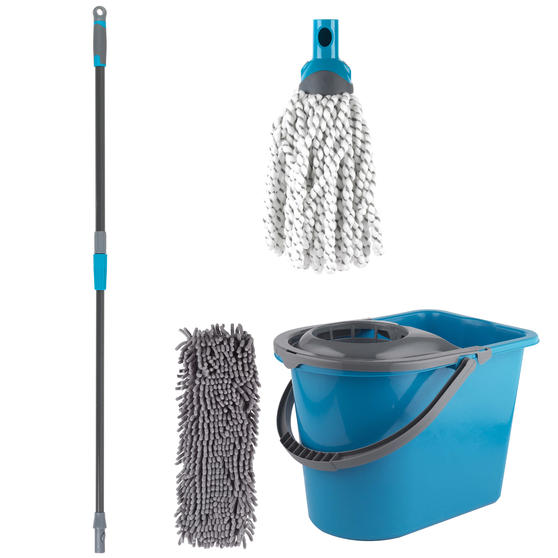 Beldray Click and Connect Set with Microfibre/Chenille Mops and Turquoise 14L Bucket Thumbnail 1