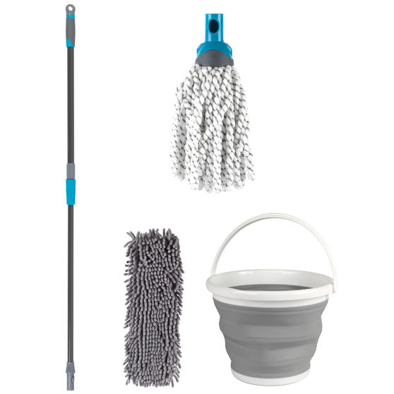 Beldray Click and Connect Set with Microfibre/Chenille Mops and 10 Litre Collapsible Bucket
