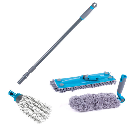 Beldray Click and Connect Cleaning Set with Microfibre Mop, Chenille Mop and Duster
