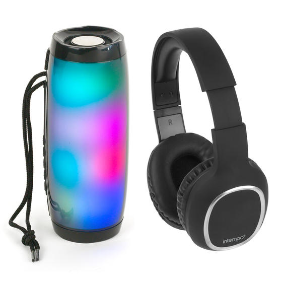 Intempo COMBO-5461 Wireless Bluetooth Headphones with Rechargeable LED Light up Speaker for iPhone, Android and Other Smart USB Devices