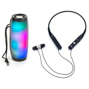 Intempo COMBO-5462 Bluetooth Handsfree Neckband Earphones with Rechargeable LED Light up Speaker for iPhone, Android and Other Smart USB Devices