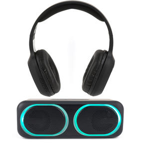 Intempo COMBO-5469 Wireless Bluetooth Headphones with LED Bluetooth Speaker