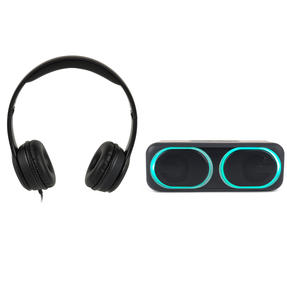 Intempo COMBO-5500 Folding Clarity Black Headphones with Wireless LED Bluetooth Speaker