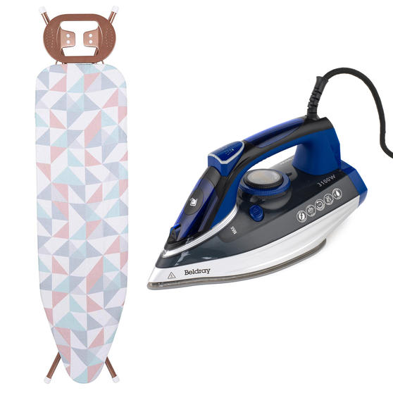 Beldray Ultra Ceramic Iron with Dual Soleplate Technology and Glisten Rose Gold Ironing Board, 300 ml, 3100 W