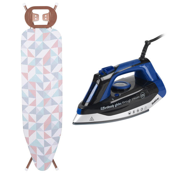 Max Steam Pro Iron with Continuous Steaming Function and Glisten Rose Gold Ironing Board, 380 ml, 3000 W
