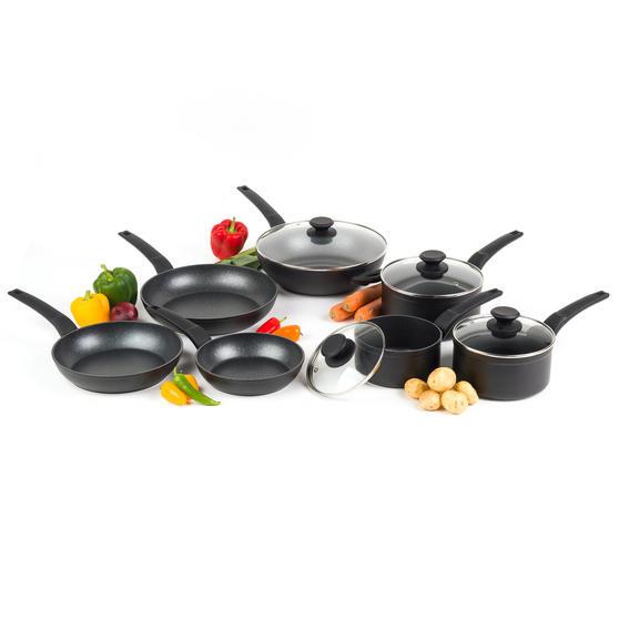 Salter COMBO-4834 Marble Gold Non-Stick Frying Pan, Saucepan and Wok Set, 7 Piece