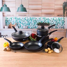 Salter COMBO-4834 Marble Gold Non-Stick Frying Pan, Saucepan and Wok Set, 7 Piece Thumbnail 2