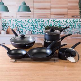 Salter COMBO-4834 Marble Gold Non-Stick Frying Pan, Saucepan and Wok Set, 7 Piece Thumbnail 9