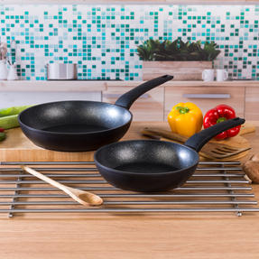 Salter COMBO-4845 Marble Gold Non-Stick Frying Pan Set, 20/24 cm, 2 Piece Thumbnail 2