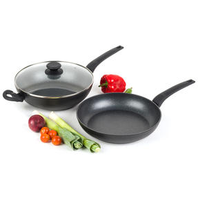 Salter COMBO-4846 Marble Gold Non-Stick Wok and Frying Pan Set, 28 cm, 2 Piece