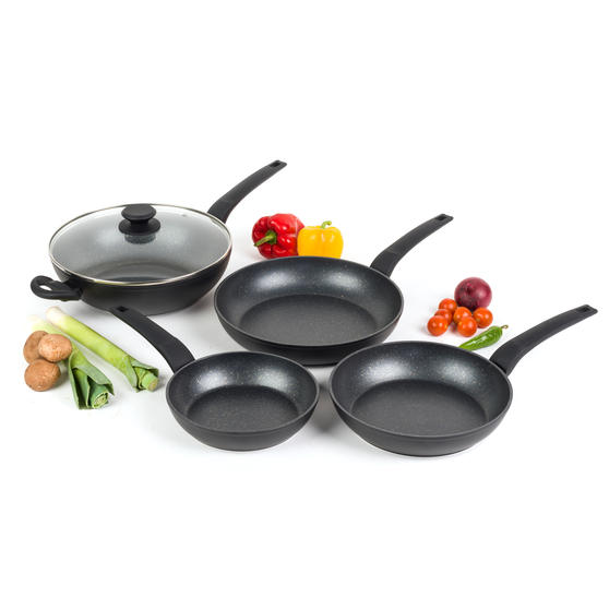Salter COMBO-4847 Marble Gold Non-Stick Frying Pan and Wok Set, 20/24/28 cm, 4 Piece