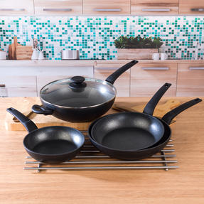 Salter COMBO-4847 Marble Gold Non-Stick Frying Pan and Wok Set, 20/24/28 cm, 4 Piece Thumbnail 2