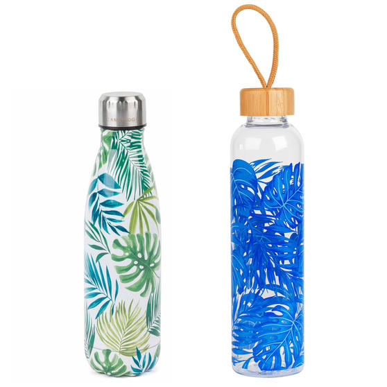 Polynesia Insulated Flask Bottle with Rainforest Reusable Glass Bottle, 500/750 ml, 2 Piece