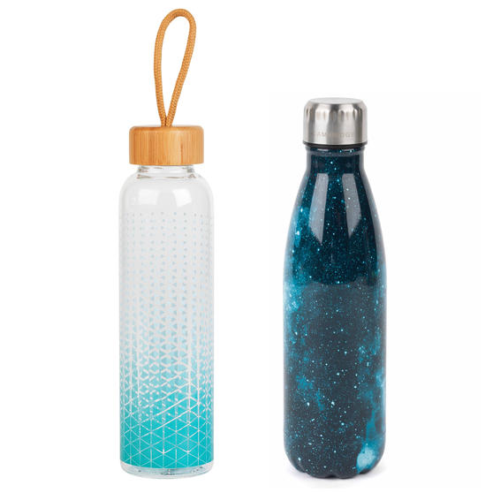 Cambridge COMBO-5419 Cosmos Insulated Flask Bottle with Scope Reusable Glass Bottle, 500/550 ml, 2 Piece