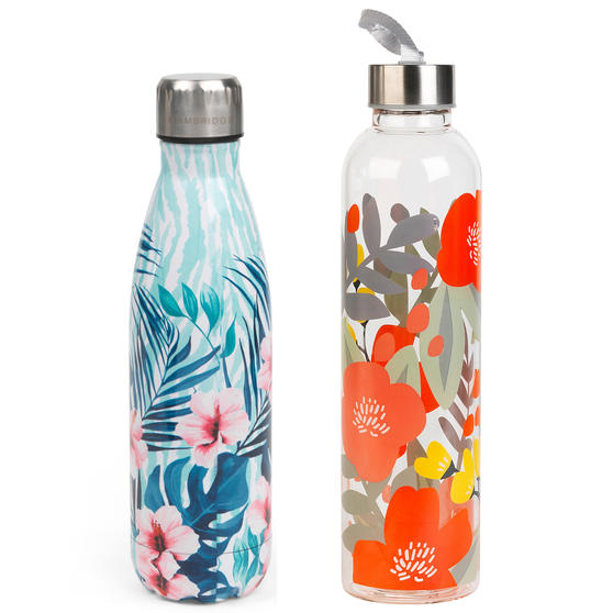 Cambridge COMBO-5420 Tropical Hibiscus Insulated Bottle & Florencia Glass Bottle