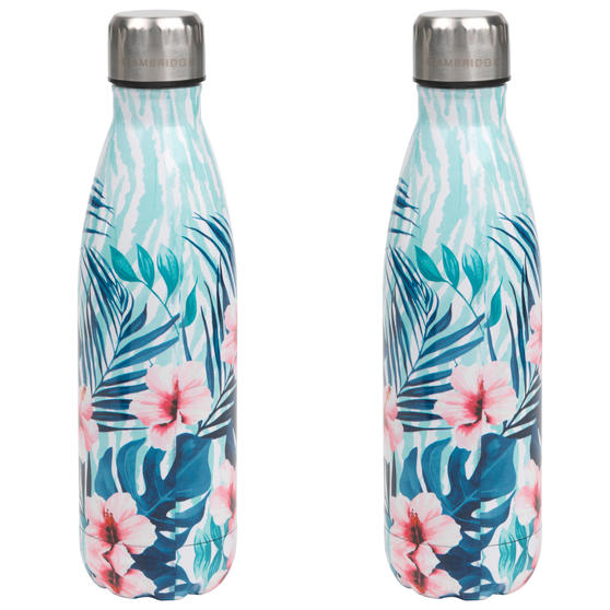 Tropical Hibiscus Thermal Insulated Flask Bottle, 500 ml, Stainless Steel, Set of 2