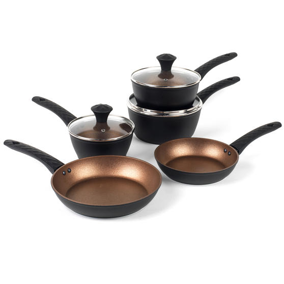 Diamond Tech Five-Piece Non-Stick Saucepan Set, Rose Gold