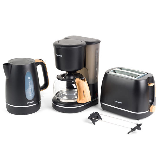 Progress Scandi Breakfast Appliance Set with 2-Slice Toaster, Coffee Maker and Jug Kettle, Black